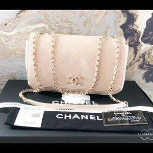 Chanel Frame In Lambskin Chain Leather CC Flap Bag